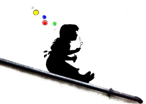 BANKSY - Bubble slide girl colour canvas print - self adhesive poster - photo print